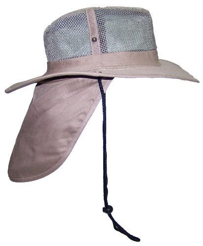 JFH Group Wide Brim Men Safari/Outback Summer Hat With Neck Flap (Extra Large, Light Brown)