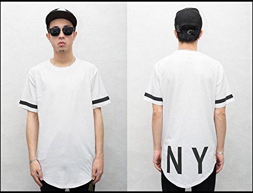 Easy Hip Hop 00 Print T-Shirt Men Short Sleeve Hem Stitching Bottoming Tee Shirt