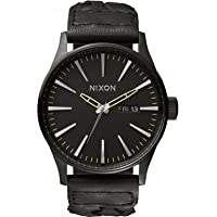 Nixon Sentry Black Dial Woven Leather Mens Watch