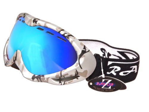 2013 Rayzor Professional UV400 Double Lensed Ski / SnowBoard Goggles, With a Matt Silver Camouflage Frame and an Anti Fog Coated, Vented Blue Iridium Mirrored Anti-Glare Wide Vision Clarity Lens.