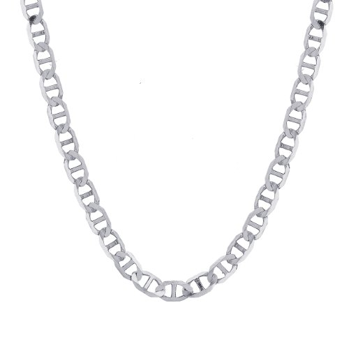 14k White Gold 3.2mm Flat Mariner Chain Necklace, 20""