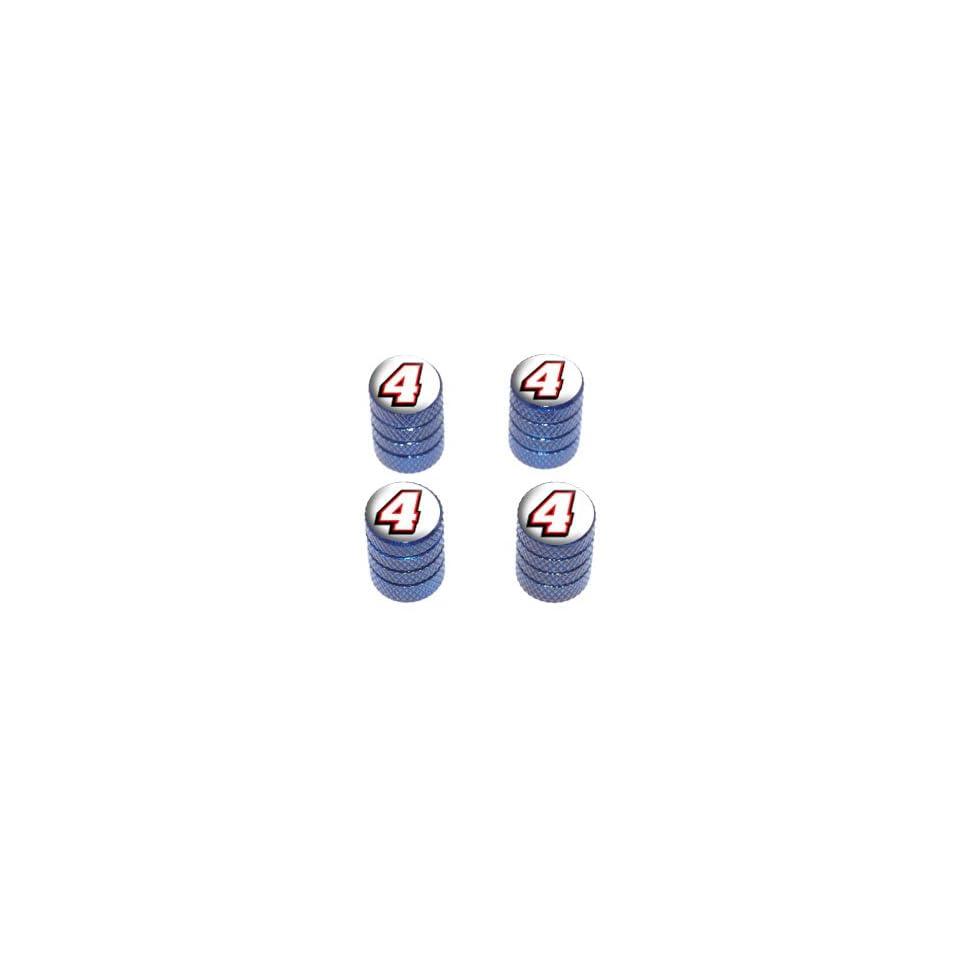 4 Number Four   Tire Rim Wheel Valve Stem Caps   Blue Automotive