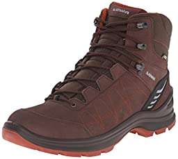 Lowa Men\'s Tiago GTX Mid Hiking Boot, Espresso/Rust, 9 M US