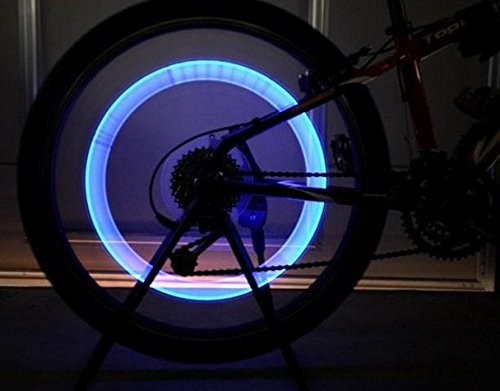 #1 Led Tyre Wheel Valve Cap Lights - Multiple Colors - Bike/Car Tyre Wheel Light - Suitable For Bikes, Cars, Motorbikes And All Wheels - Super Bright Tire Light - Green & Blue - Pack Of 4 - Divine Leds - Lifetime Warranty