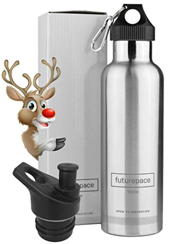 Futurepace Tech - Best Stainless Steel Insulated Water Bottle - 750ml - BRUSHED STAINLESS STEEL - Wide Mouth - Sports Lid - Christmas Gift Box Included