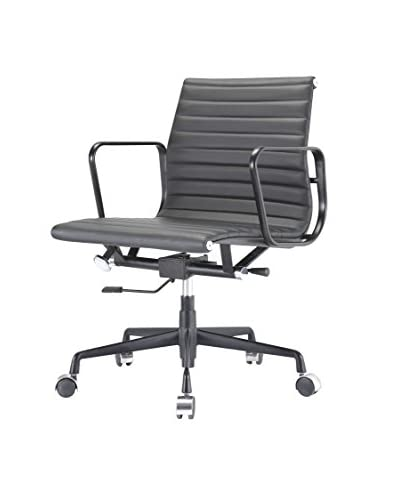 Meelano Office Chair In Italian Leather, Black