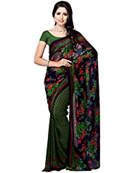 Fabdeal Daily Wear Floral Print Georgette Saree/Sari ( UGQSR9443AOC-_Blue & Green )