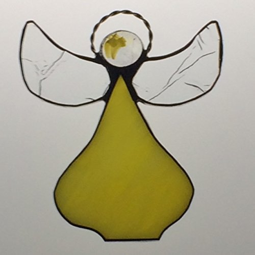 Handcrafted Yellow Angel Suncatcher Stained Glass Ornament