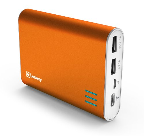 Jackery Giant+ Premium Fast-Charging Aluminum Portable Charger 12000mAh External Battery Pack Power Bank with Dual USB Port for Apple iPhone 5S, 5C, 5, 4S, iPad, Air, Mini, Samsung Galaxy S4, S3, Note, Nexus, LG, HTC. USB Charger, Portable Charger, Portable Phone Charger, USB Battery Pack, Dual USB Car Charger, Power Bank, Portable Battery for Mobile Devices (Orange)