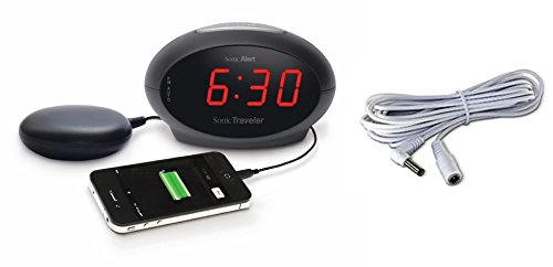 Sonic Boom Sonic Traveler Alarm Clock with Bed Shaker & USB Charger (SBT600SS Bundle Includes Bed Shaker Extension Cable - SBE115)