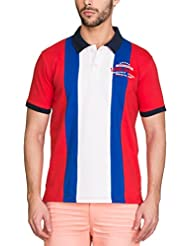 Zovi Men's Cotton High Risk Red Polo T-shirt With Blue Stripes (11945606801)
