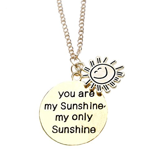 Hand Stamped You Are My Sunshine Necklace , Personalized Gold Plated You Are My Sunshine Jewelry Inspirational Necklaces