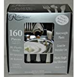 "Reflections Heavyweight ""Looks Like Silver"" Disposable Flatware for 40 with BONUS Pack of 40 Forks - 160 Pieces..."