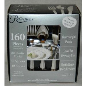 160 Pieces Reflections Heavyweight Plastic Silverware