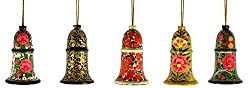 Craftuno Handcrafted Paper Mache Hanging Bell - Set of 5