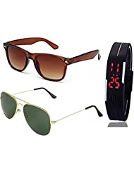 BROWN WAYFARER SUNGLASSES AND GOLDEN GREEN AVIATOR SUNGLASSES WITH TPU BAND RED LED DIGITAL BLACK DIAL UNISEX...
