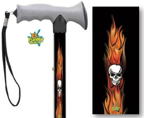 Adjustable Gel Grip Folding Walking Cane Skulls And Flames