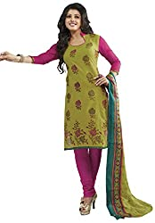 DARPAN TEXTILES Ethnicwear Women's Dress Material(Green_Free Size)