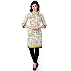 Vaamsi Women's PolyCotton Unstitched Kurti Fabric(KFD1045_White_Free Size)