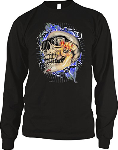 Amdesco Men's Skull With Sunglasses Smoking a Blunt Thermal Shirt, Black Large