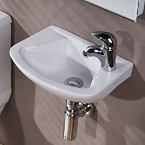 Modern Compact Bathroom Hand Wash Basin - Wall Mounted, 1 Tap Hole, En ...