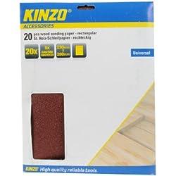 Kinzo 72173 - Hojas de papel de lija para madera (20 unidades, 230 x 280 mm, granos 40, 60, 80 y 120)