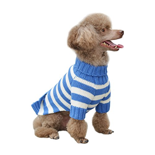 Blue White Striped Fashion Cute Dog Sweater For Winter