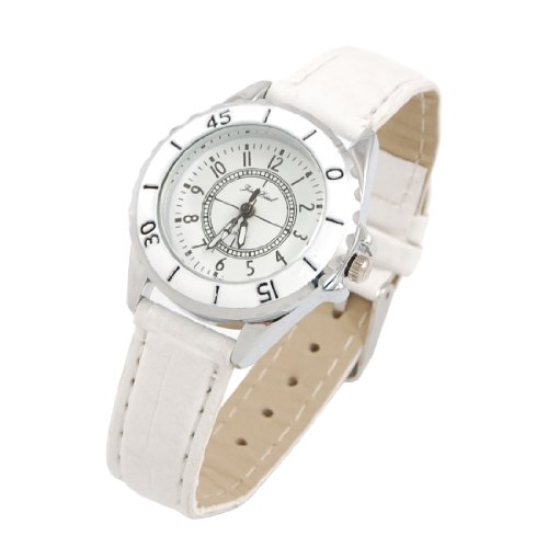 White Faux Leather Band Round Dial Wrist Watch for Girls