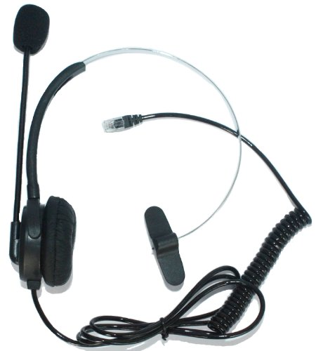 Sundely Single Ear Boom Mic Headphone With 4-Pin Rj9 Modular Connector For General Electric Grandstream Hybrex Intertel Interquartz Iwatsu Lazerbuilt Mitel Nec Orchid Plt Telephone /Ip Phone