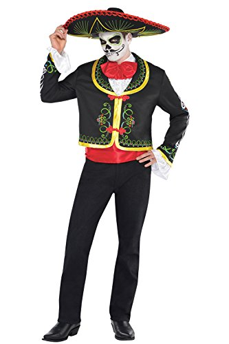 Day Of The Dead Adults Costume Mexican Sombrero Mariachi Fancy Dress