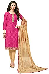 Clickedia Women's Bombay Cotton Embroidered Pink & Beige Salwaar Suit Dupatta - Dress Material