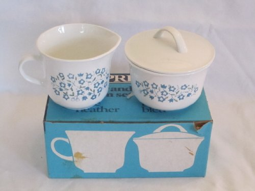 """Vintage 1970s Corning Corelle Expressions """" Blue Heather """" Sugar and Creamer Set"""