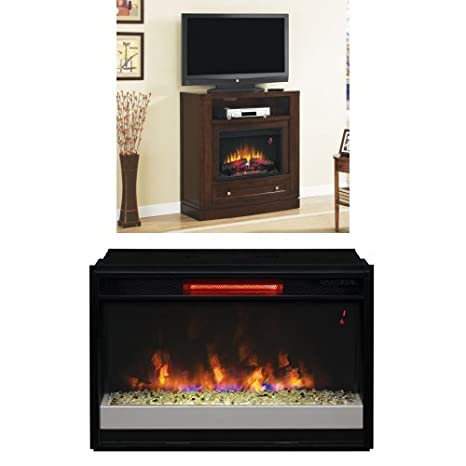 "Complete Set Wesleyan Dual Entertainment Mantel in Meridian Cherry with 26"" Contemporary Infrared Spectrafire Plus Insert with Safer Plug"