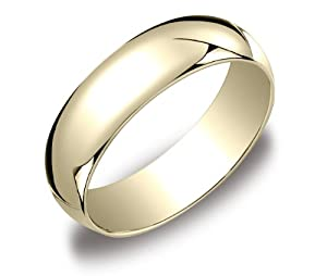 Men's 10k Yellow Gold 6mm Traditional Plain Wedding Band, Size 10