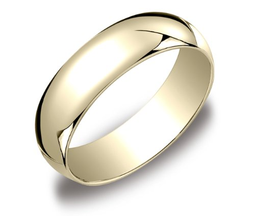 Men's 10k Yellow Gold 6mm Traditional Wedding Band Ring, Size 10.5