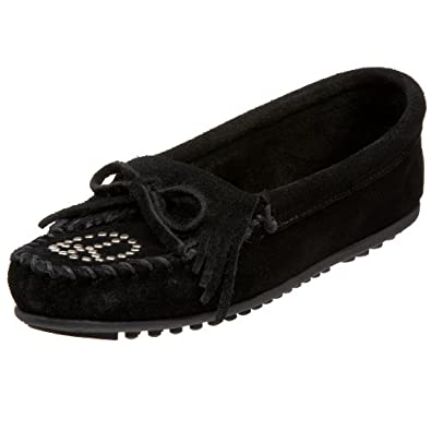 Minnetonka Women's Kilty Peace Sign Moccasin,Black,5 M US