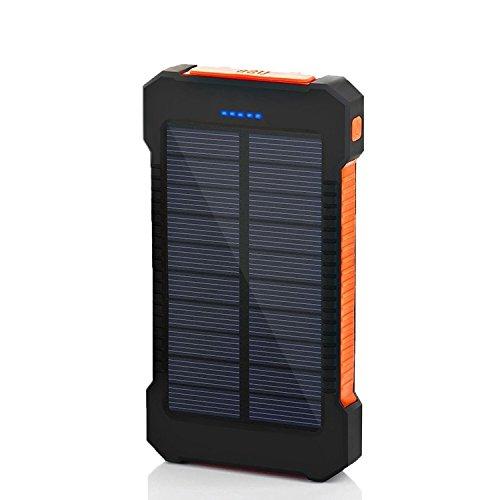SOMAN 10000mAh大容量ソーラーパネル モバイルバッテリー 防水・防塵・耐衝撃 アウトドア 災害、防災向け LEDライト搭載 (ブラック+オレンジ)