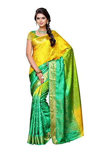Mimosa By Kupinda Women's Tusser Silk Saree Kanjivaram Style Color :Multi (3430-2037-3D-GR-GD-OL)  available at amazon for Rs.1299