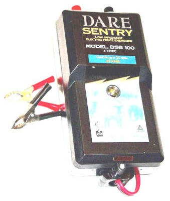 Dare Products Dsb 100 Sentry Series Electric Fence Energizer, 25-Acre, Battery Power, 6-12-Volt Battery - Quantity 2