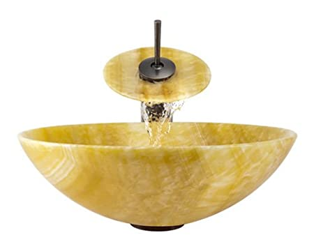 Aurora Sinks S04-ORB-V Bathroom Ensemble with Pop Up Drain, Honey Onyx Vessel, Sink, Ring and Waterfall Faucet, Oil Rubbed Bronze