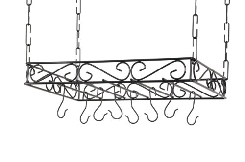Concept Housewares PR-40530 Scrolled Iron Pot Rack, Black