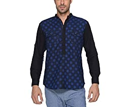 Copperstone Men's Casual Shirt (8903944585478_Blue_X-Large)
