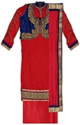 Krati Collection Women's Chiffon Unstitched Dress Material (Red)