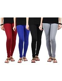 Jbk Arts Women Cotton Lycra Premium Leggings ( Set Of 4 ) ( L4-M-RB-BL-GY, Multi-Coloured, )