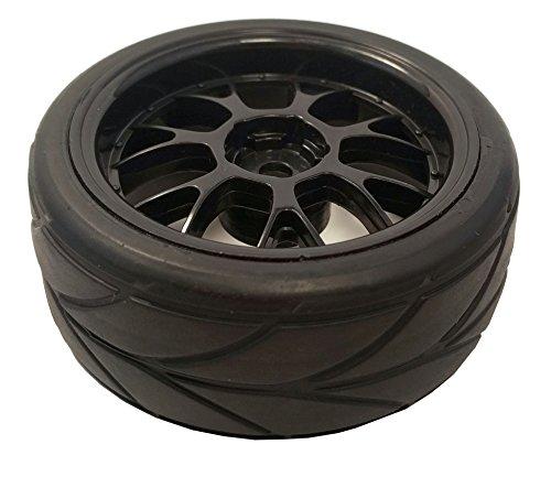1 10 On Road 12mm Black Mesh Wheels V Tread Rubber Tires