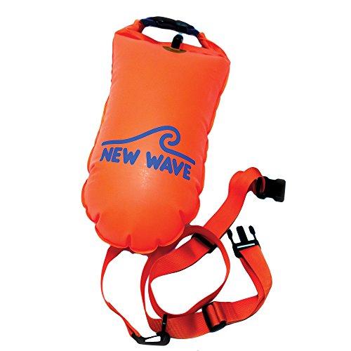 New Wave Swim Boa per Open Water nuotatori e triatleti - Luce e galleggiante visibile per la formazione sicura e Racing (Orange TPU Medio-15L)