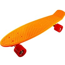 Or Complete Plastic Retro Skateboard Cruiser Board Assorted Colors (red wheels)