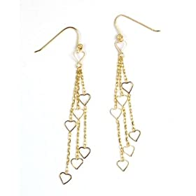 14k Yellow Gold Multi Strand Dangle Heart Earrings