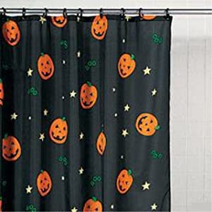 Halloween PUMPKIN Jack-O-Lantern Bathroom SHOWER CURTAIN holiday decor