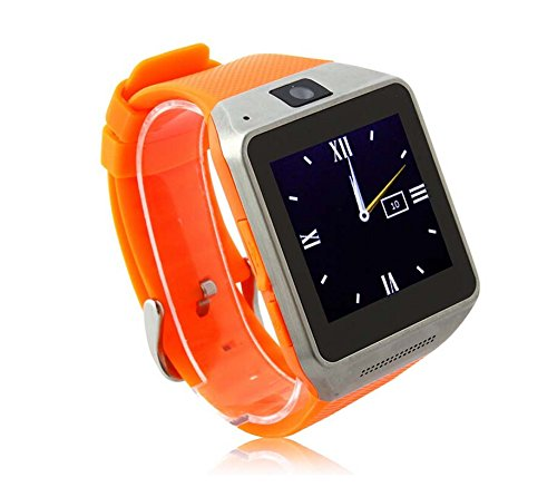 Luxsure® Touch Screen Smartwatch Inserted Card Smart Phone Watch Soft Silicone Strap Wristwatches Bluetooth Sync IOS Android iPhone Samsung HTC LG (GV08-Orange)